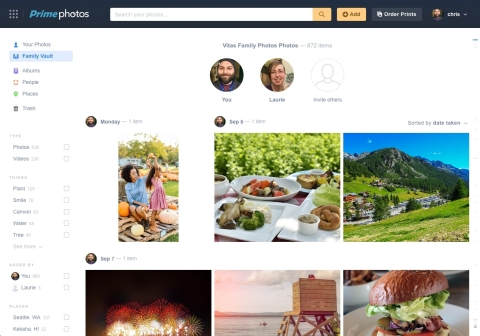 Amazon today introduces new features to the Prime Photos service