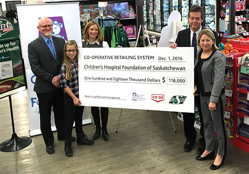 Co-op-Roughrider Game Day Approved partnership donates $118,000 to the Children's Hospital Foundation of Saskatchewan
