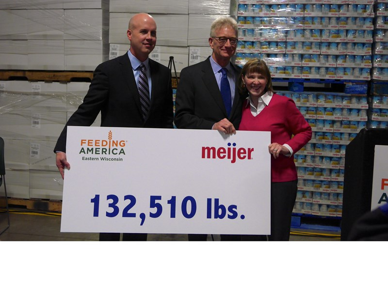 Midwest retailer Meijer donated two semi-trucks and trailers full of food to Feeding America Eastern Wisconsin