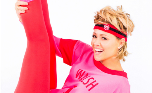 Sainsbury's Kimberley Walsh recreated shots from Olivia Newton-John's iconic video 'Physical' for the launch of the official Sport Relief Headband
