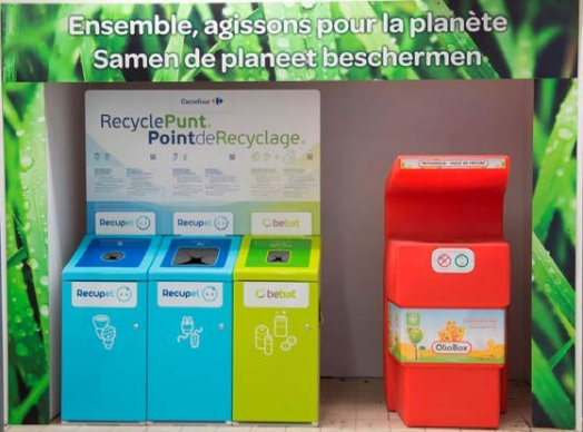 Carrefour in Belgium work with Bebat, Recupel and Atravet to help its customers recycle