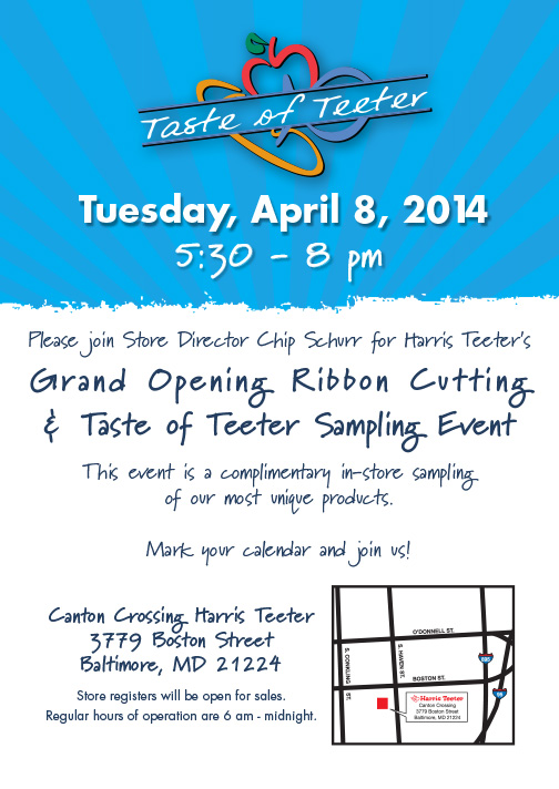 Harris Teeter welcomes shoppers to its Shops at Canton Crossing store on Tuesday, April 8, 2014