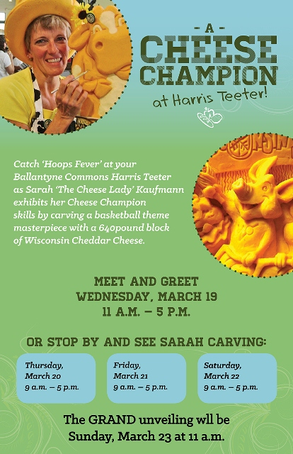 Sarah Kaufmann to carve 640-pound block of Cheese on March 20 at Ballantyne Commons Harris Teeter