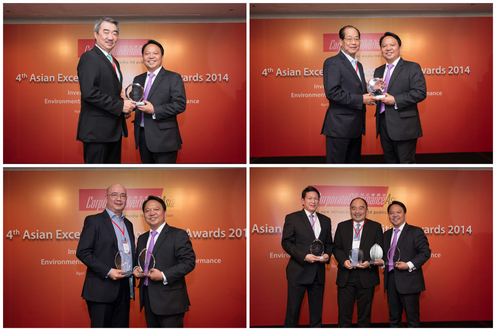 (Clockwise from top left) SM Prime Holdings, Inc. (SM Prime) President Hans Sy with CG Asia Publisher and Managing Director Aldrin Monsod; SM Investments Corp. Chief Finance Officer Jose Sio and Mr. Monsod; BDO EVP and Head of Central Operations Group Dennis Velasquez, BDO SVP for Investor Relations and Corporate Planning Luis Reyes, Jr. and Mr. Monsod; and SM Prime EVP and CFO Jeffrey Lim