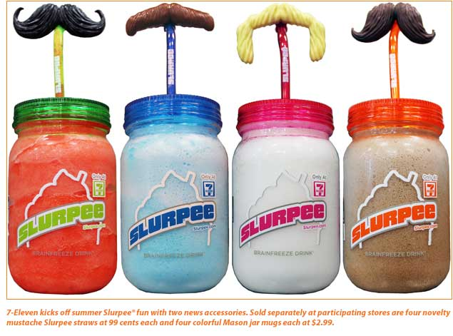 7-Eleven launches Mustache Straws and Mason Jar Mugs for Slurpee® drink this summer