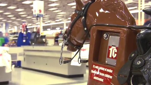 Meijer debuts new commercial featuring photos of local children riding its iconic penny pony Sandy