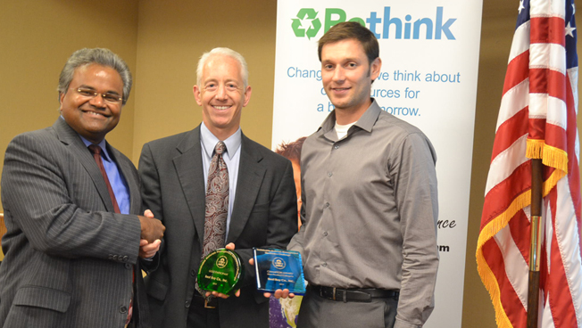Pictured are Mathy Stanislaus, Assistant Administrator, U.S. EPA Office of Solid Waste & Emergency Response; Scott Weislow, Senior Director of Environmental Services at Best Buy; and Tim Dunn, Senior Manager of Environmental Affairs at Best Buy.