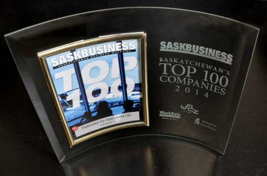 Federated Co-operatives Limited remains the largest Saskatchewan company in SaskBusiness Magazine's 2014 ranking of the province's top 100 businesses