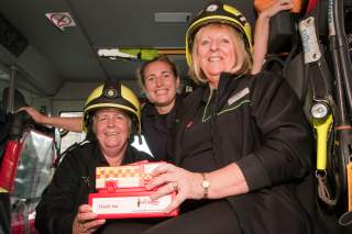 Penzance firefighters attend the re-launch of The Co-operative Food in Newlyn's new look
