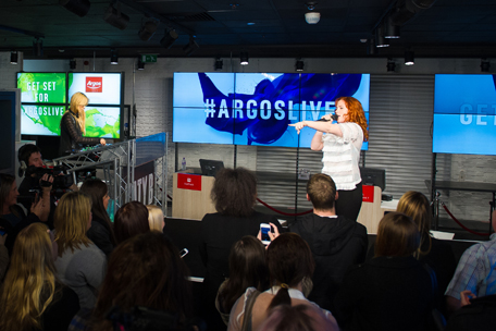 UK singer-songwriter Katy B performed at Argos' digital store on Old Street, London to mark Argos' new campaign launch 'GET SET GO ARGOS'