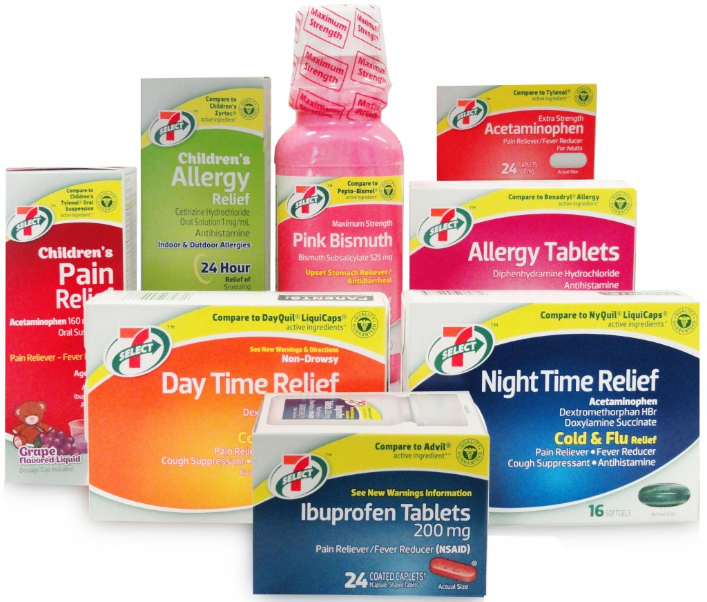 7‑Eleven, Inc. launches its high-quality 7-Select line of other-the-counter pain relievers. Pictured here are eight of the 34 medications 7‑Eleven stores can choose for their customers. These products are value-priced when compared to the name-brand competitors on 7‑Eleven store shelves.
