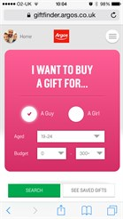 Argos officially launched its 2014 Christmas Gift Finder - the world's first swipe-to-like shopping web app 2