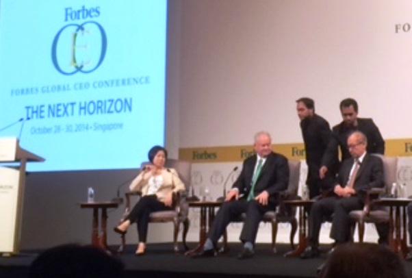 Ms. Coson, Vice-Chairperson of SM Investments Corporation (far left) at the Forbes CEO panel