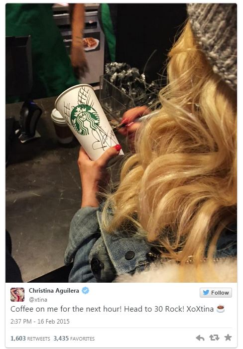 Christina Aguilera bought customers coffee at Starbucks Rockefeller Center Concourse in New York