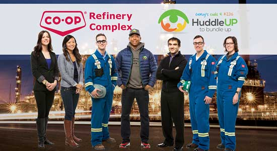 Co-op Refinery Complex donates winter clothing to Geroy's Coats 4 Kids campaign through the Huddle Up Foundation