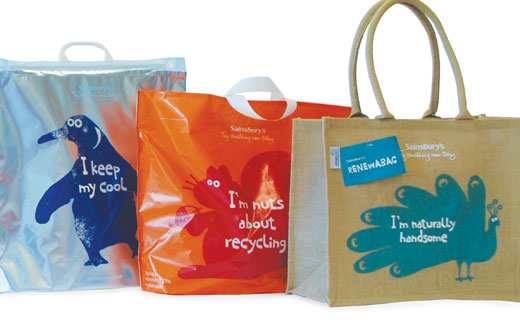 Sainsbury's reduces the size and increased the recycled content of its single-use plastic carrier bags