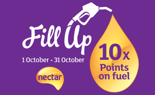 10 Nectar points for every litre of fuel purchased at Sainsbury's, 1-31 October