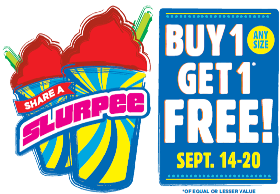 """The world's largest convenience retailer is starting the fall season strong with a weeklong """"Share a Slurpee"""" drink offer. The Buy One-Get One Free deal runs every day from Monday, Sept. 14, through Sunday, Sept. 20."""