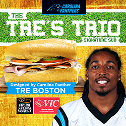 Carolina Panthers' safety Tre Boston to debut his personally designed Signature Sub Sandwich for Harris Teeter