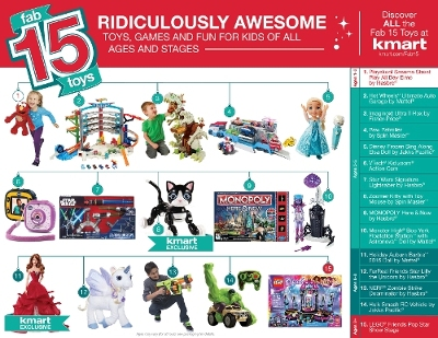 Kmart revealed its Fab 15 list of the hottest toys for the 2015 holiday season