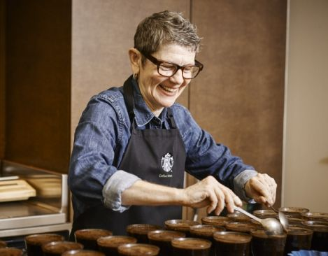 Learn the 4 steps of tasting coffee inside the Starbucks Coffee Cupping Room in the company's Seattle headquarters