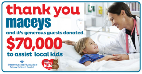 Macey's donates $70,000 to Primary Children's Hospital to support the renovation of the Angel Garden