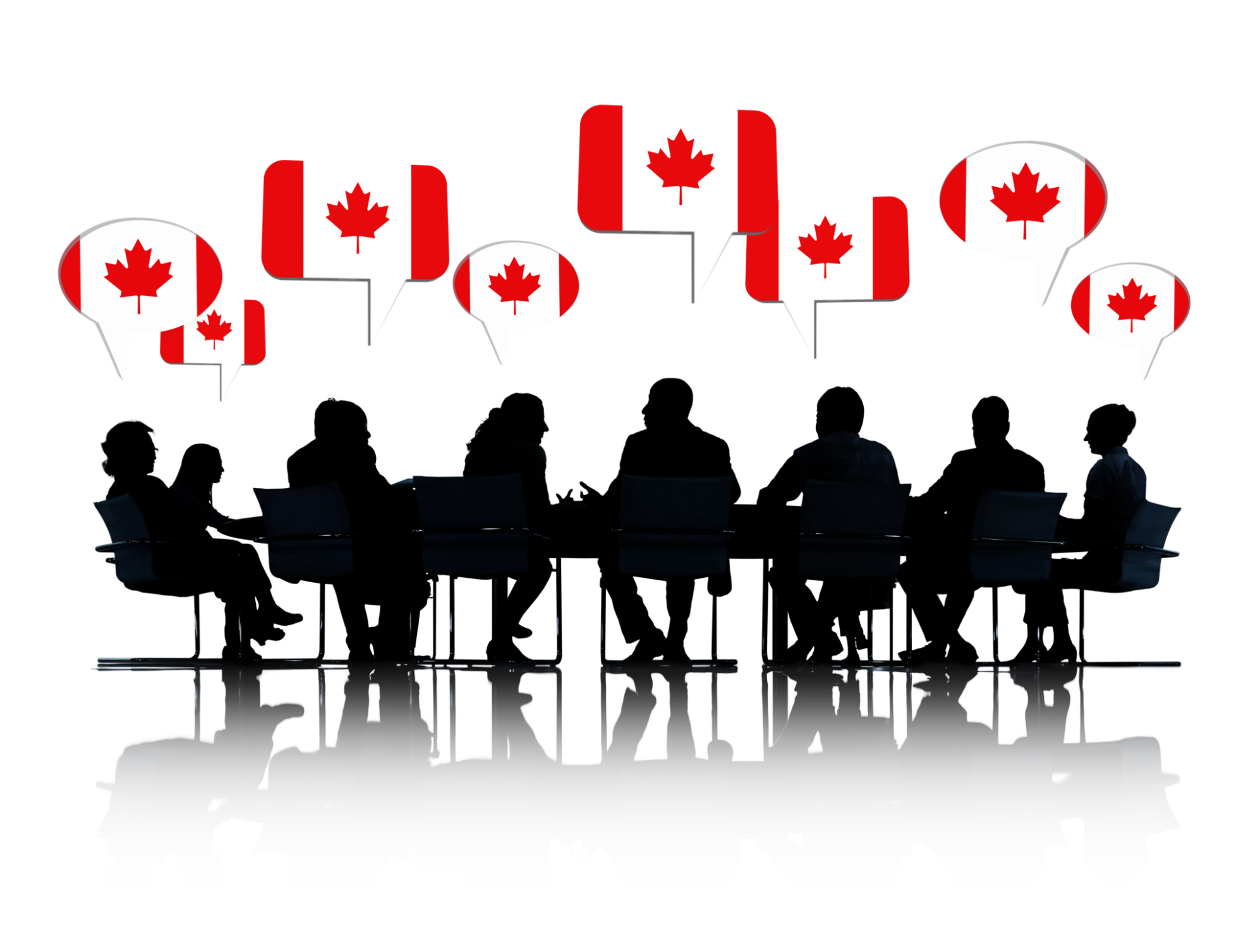 Talking Business People Silhouettes Isolated On White With Canad