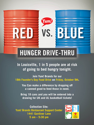"""Yum! Brands celebrates its 18th anniversary on October 9th with a Red vs Blue Hunger """"Drive-Thru"""""""