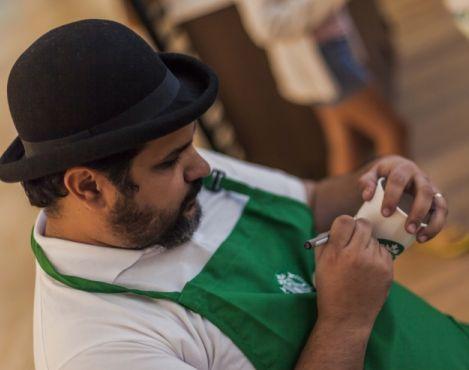 Artist Ismael Gudiño to personalize cups for customers of the new café of Starbucks in Santa Cruz, Bolivia