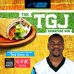 Carolina Panthers' Ted Ginn Jr. teams up with Harris Teeter to debut his personally designed signature sub sandwich on Oct. 20