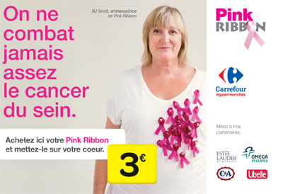 Carrefour Belgium supports the Pink Ribbon organisation's campaign to raise awareness of breast cancer