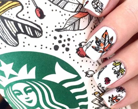 New York nail artist Casey Danton Nails the Look of Starbucks Fall Cups