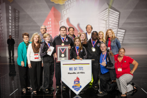 The winners of the 2015 DR PEPPER SONIC GAMES and the franchise group that operates the Pineville location, Kergan Brothers, Inc. Front row: Laurie Wilkerson; Doris Reiners, vice president of administration for Kergan Brothers, Inc.; Katie Wakefield, switchboard operator and individual Silver medal winner; Curtis Desselles, swamp; Krista Viola, Carhop and individual Bronze medal winner; Timothy Lair, dresser and individual Gold medal winner; Christopher Guyton, grill; Lori Moresi, marketing director for Kergan Brothers, Inc. Back row: Gary Wilkerson, president of Kergan Brothers, Inc.; Lance Moresi, team leader; Megan Wakefield, fountain; Ted Kergan, CEO of Kergan Brothers, Inc.; Ann Kergan; Janet Hebert, vice president of finance for Kergan Brothers, Inc. (Photo: Business Wire)