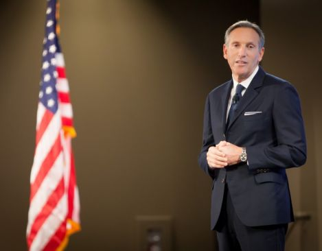 Starbucks CEO Howard Schultz addressed more than 200 people representing veterans service organizations