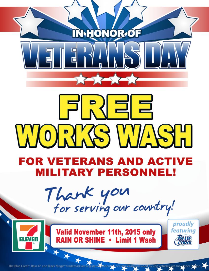 More than 300 7‑Eleven stores with car washes in 16 states offer active and veteran military personnel a free vehicle cleaning on Nov. 11, Veterans Day.