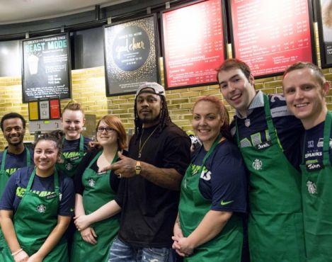 Seahawks Marshawn Lynch surprised baristas at a Bellevue Starbucks