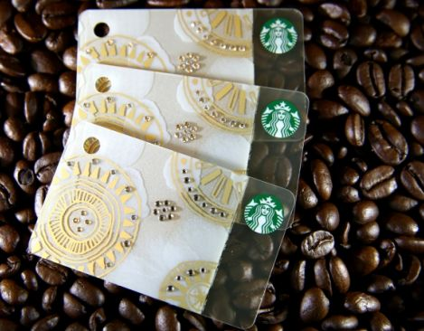 Starbucks Cards with Swarovski crystals will be available in limited quantities in China, Hong Kong, Indonesia, Philippines and Thailand this Holiday