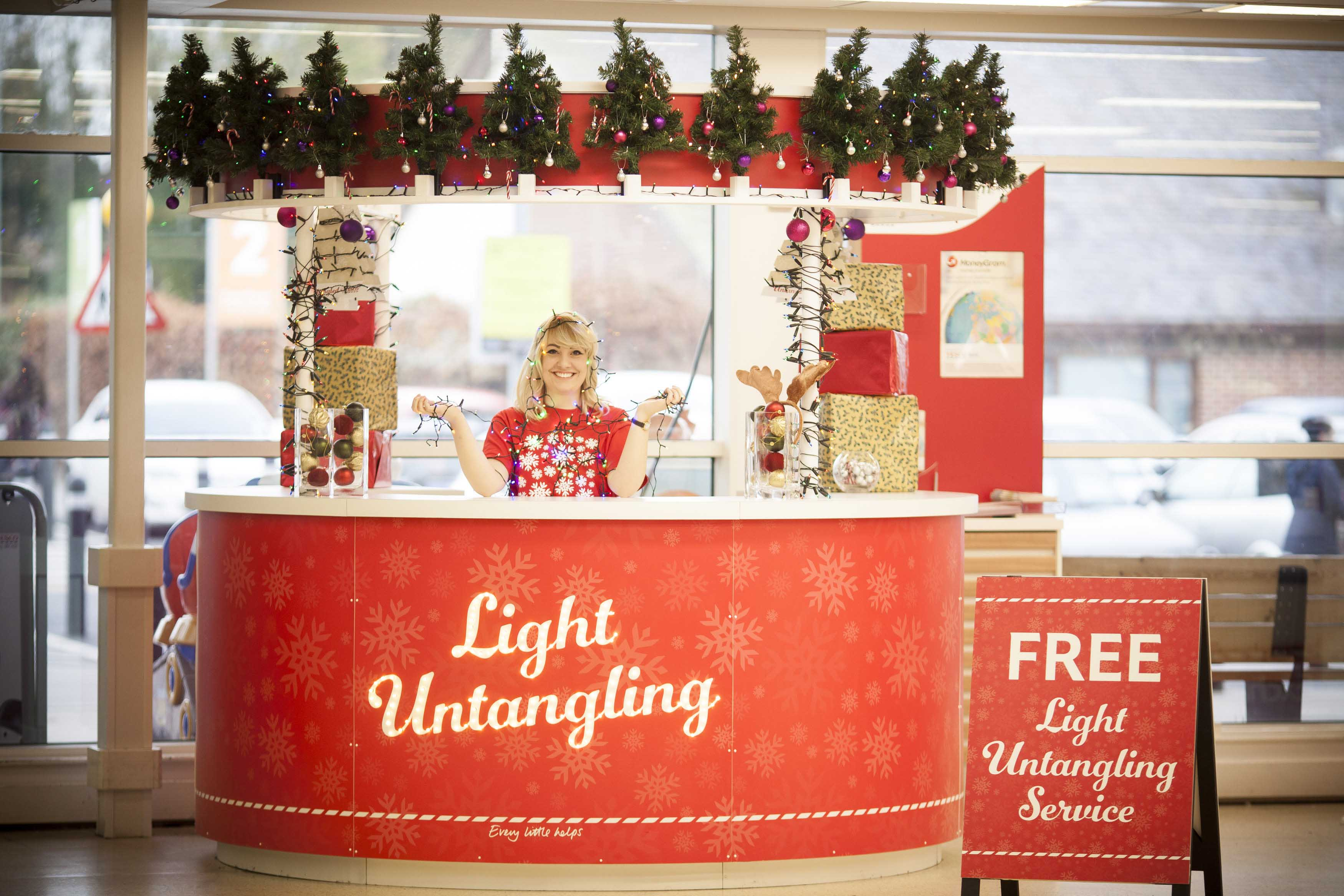 tesco extra store in wrexham north wales hires uks first ever christmas tree lights untangler