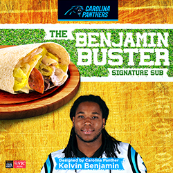Carolina Panthers' wide receiver Kelvin Benjamin partners with Harris Teeter to debut his personally designed signature sub sandwich