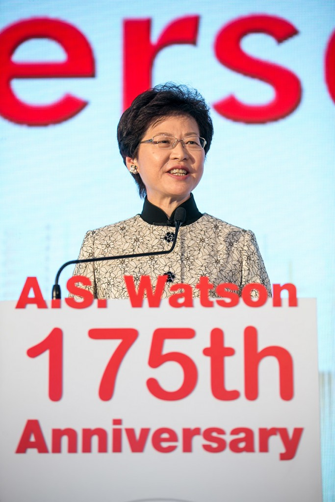 Mrs. Carrie Lam, GBS, JP, Chief Secretary for Administration, Hong Kong SAR Government congratulated the A.S. Watson Group at its 175th Anniversary cocktail on being one of the longest-standing companies in Hong Kong, and on its world-leading position in retail.