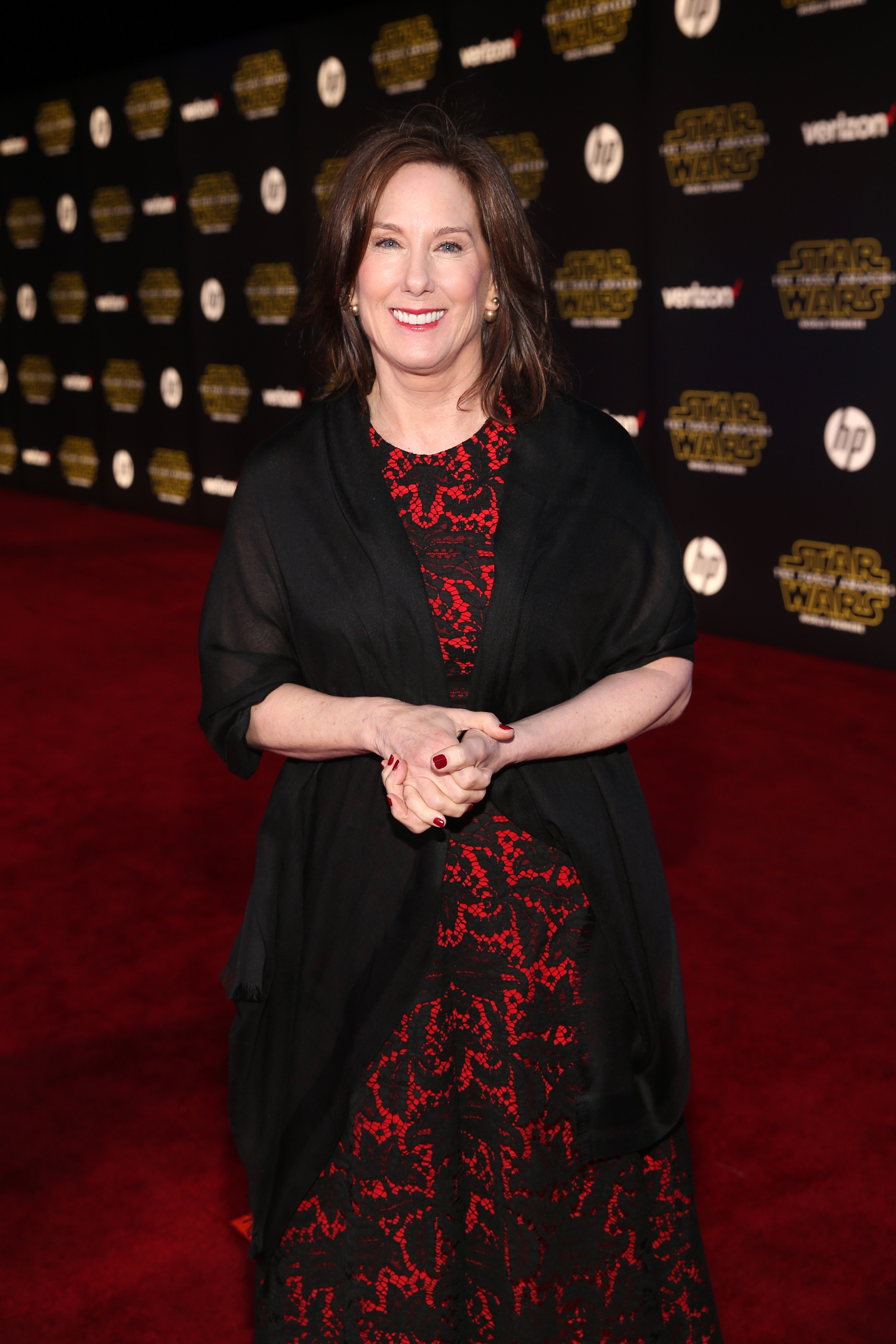 HOLLYWOOD, CA - DECEMBER 14:  President of Lucasfilm Kathleen Kennedy attends the World Premiere of ?Star Wars: The Force Awakens? at the Dolby, El Capitan, and TCL Theatres on December 14, 2015 in Hollywood, California.  (Photo by Jesse Grant/Getty Images for Disney) *** Local Caption *** Kathleen Kennedy