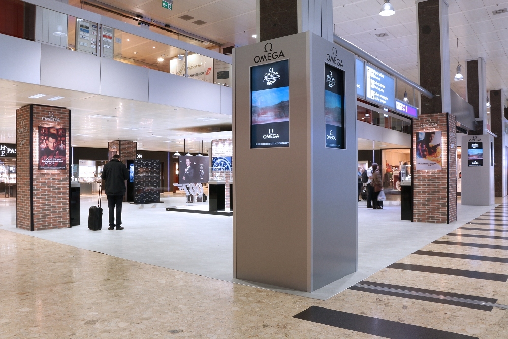 OMEGA & James Bond Exhibition in front of the Hour Passion and OMEGA boutiques at Geneva Airport