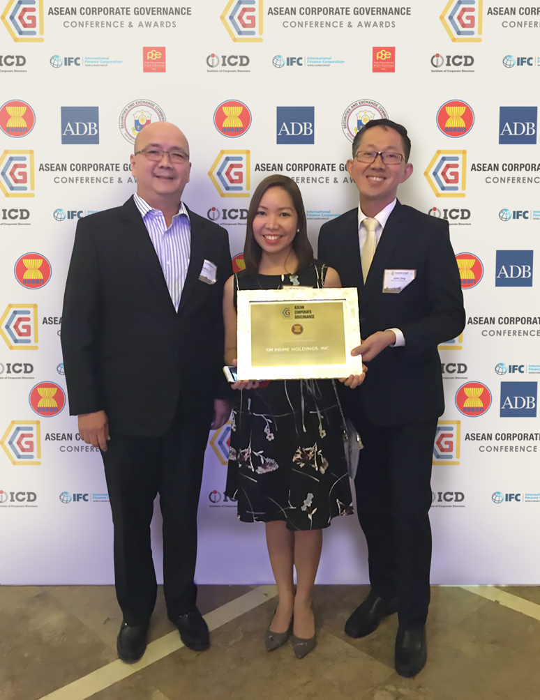 SM Prime named among the Top 50 Publicly Listed Companies in the ASEAN region; receives ASEAN Corporate Governance Award