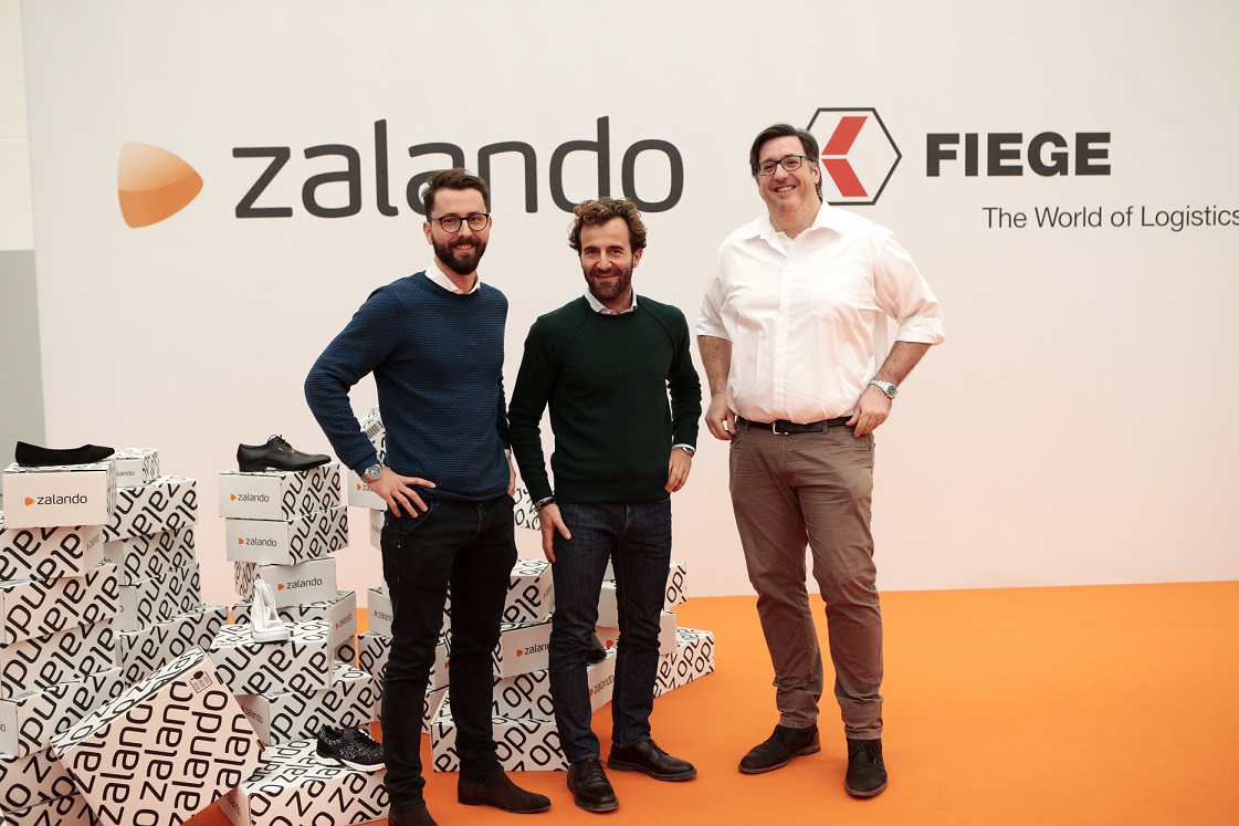 From left to right: Giuseppe Tamola (Country Manager Zalando Italy), Alberto Birolini (Business Development Manager & Board Member Fiege Italy) and Christoph Stark (Vice President Logistics Zalando).