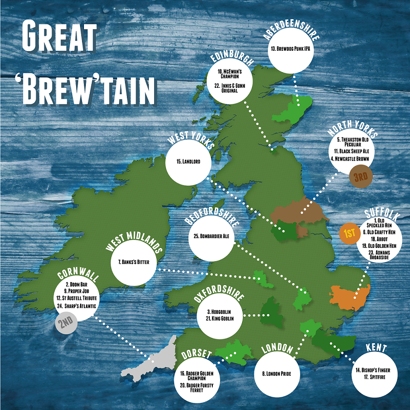 Tesco's map of 'Brew-tain' reveals Suffolk as the champion when it comes to producing UK's favourite bottled beers