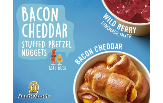 Auntie Anne's® launches Bacon Cheddar Stuffed Pretzel Nuggets