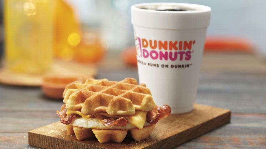 New Belgian Waffle Breakfast Sandwich at Dunkin' Donuts restaurants nationwide