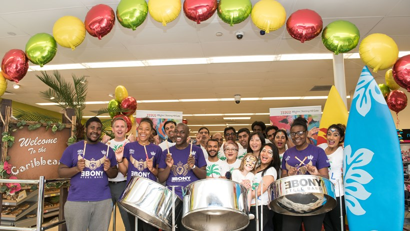 Tesco supports this year's Notting Hill Carnival with in store displays, offers and Caribbean beach parties