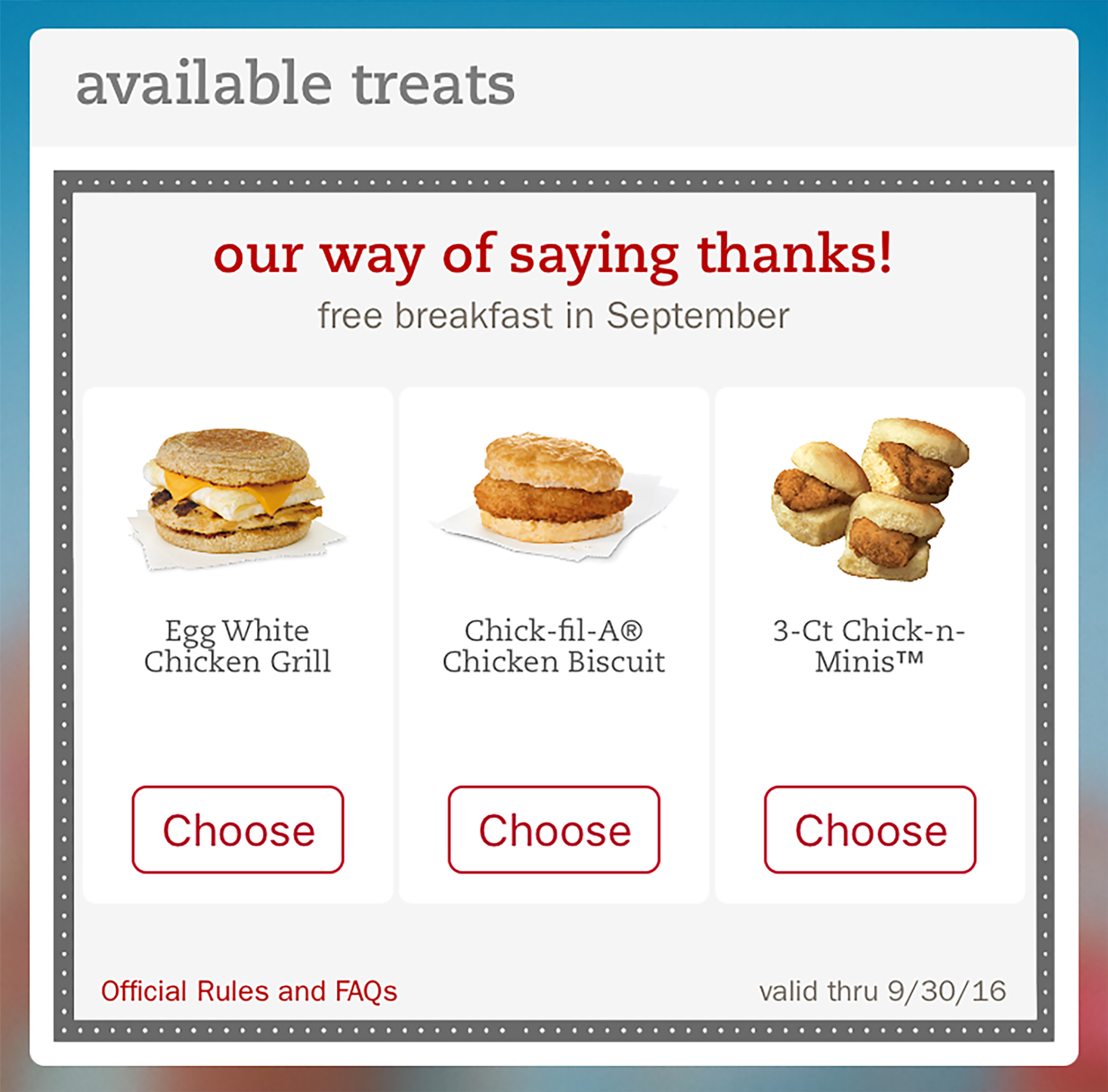 Chick-fil-A® thanks Chick-fil-A One™ mobile app users with free breakfast reward this month
