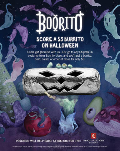 Chipotle Mexican Grill announces the return of its annual Halloween celebration, Boorito on October 31st